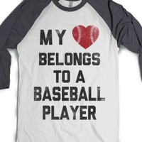 White/Asphalt T-Shirt | Baseball Girlfriend Shirts