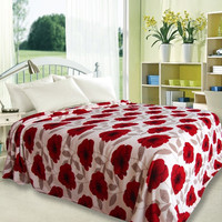 Ultra Plush Primrose Design Queen Size Microplush Blanket - Red