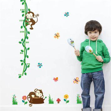 cartoon sleeping monkeys height measure wall stickers for kids rooms tree birds flower butterfly height chart nursery home decor