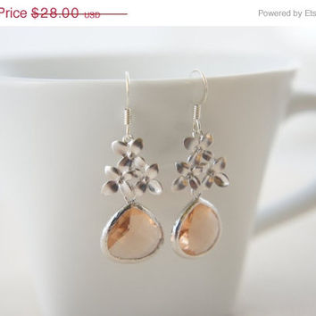 10% OFF Silver flower earrings with peach pink color gem, wedding, bridesmaid, gift