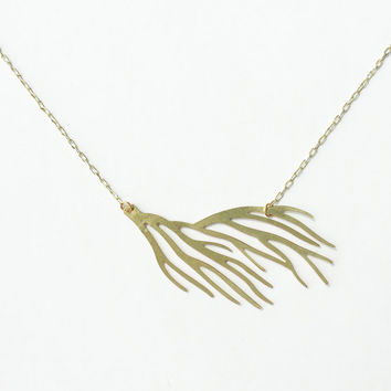 Brass Coral Branch Necklace