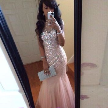Hot Luxury Beaded Rhinestones Mermaid Prom Dresses O-Neck Floor Length Long Formal Prom Gowns vestido de festa longo