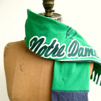 Notre Dame T Shirt Scarf / Navy Blue Kelly Green Gray White / Leprechaun / Unisex / Men / Fall / Fighting Irish / Cotton / Soft / by ohzie