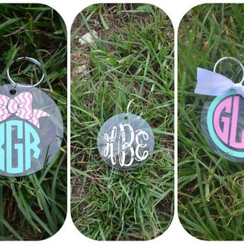 Monogram keychain ~ Key chain ~choose your design~ acrylic ~ custom ~ personalized