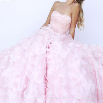 Strapless Sherri Hill Flower Skirt Prom Dress 32132