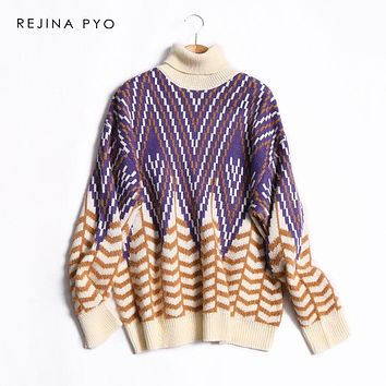 REJINAPYO Women Contrast Color Geometric Jacquard Knitted Turtleneck Sweater Female Fashion Winter Warm Thick Casual Sweater