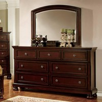 Striking Wooden Dresser In Transitional Style, Dark Cherry Brown