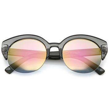 Women's Wide Angle Cat Eye Half Frame Sunglasses C021