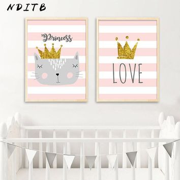 NDITB Nursery Canvas Wall Art Poster Cartoon Cat Crown Print Minimalist Painting Decorative Picture Baby Girls Room Decoration