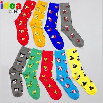 Cute anime men women cotton socks hero series comics socks cartoon mini pattern socks dot wedding funny dress socks