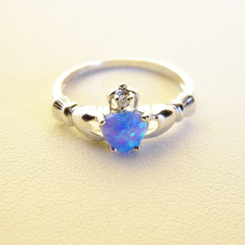 Sterling Silver 925 Claddagh Ring Blue Fire Opal and Cubic Zirconia Promise Engagement Wedding  Ring