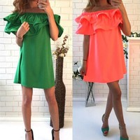 Summer dress solid color off shoulder for women dresses fashion casual sexy dresses vestidos beach dress