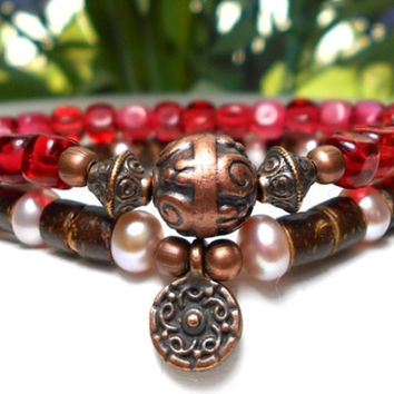 Coco Wood And Freshwater Pearl Bracelet