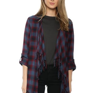 Willow & Clay Plaid Fringe Top