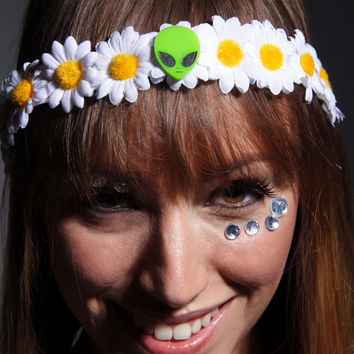 Alien LED Flower crown  for raves EDC and Music Festivals Space babe