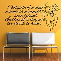 Wall Decals Quote Outside Of A Dog A Book Decal Dog Vinyl Sticker Nursery Pet-Shop Home Room Bedroom Decor Art Murals Ms730