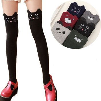 Winter Warm Cute Bear Pattern Stockings For Women Cotton Thigh High Stocking Kawaii Over Knee Stockings Hot Sale