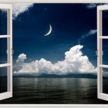 "Night Moon View Beach Ocean Seascape Home Office Kitchen Kids Nursery Room Gift 3D Unique Window Depth Style Vinyl Print Removable Wall Sticker Decal Mural Size 19.6"" x 27"" by Bomba-Deal"