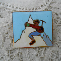 Mountain climber enamel brooch stamped made in france AA LYON Vintage