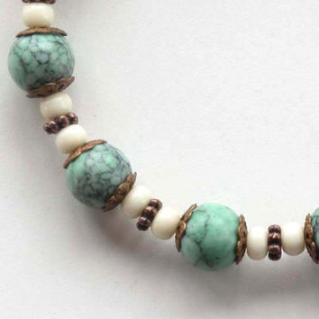 Beaded stretch bracelet -  turquoise, ivory & copper - sea and sky