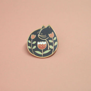 Cat Nap Pin, Hard Enamel, Enamel Pin, Lapel Pin, Pin Badge, Flair, Brooch, Badge, Collar Pin