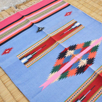 Pink, Blue Kilim Rug area rug 3x5 Interlock Cotton Flat Weave Rug  Yoga Mats / Meditation Mats / Picnic Blanket Indian Tapestry, Tribal Rug