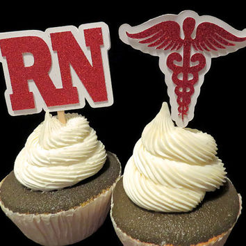 RN cupcake toppers, Caduceus symbol, nurse, nursing, graduation decorations, medical, Hermes, 12 CT