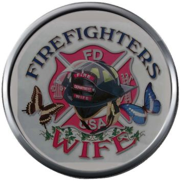 Firefighters Wife Helmet Thin Red Line Heart Maltese Cross Shield Proud Protect Serve  18MM-20MM Snap Charm New Item