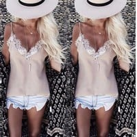 VOND4H Fashion Summer Women Lace Vest Sleeveless Shirt Loose Plus Size Tops