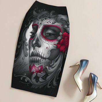 Summer Black Gothic Rock Punk Print Pencil Skirt Clothing Vintage Sugar Skull Rose Ladies High Waist Midi Bodycon Skirts