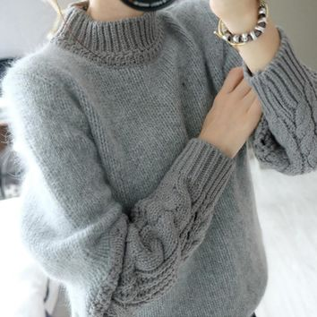 Winter Thick and Soft Cozy Women O-neck Pullover Sweater Female Dress Coat