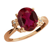 3.38 Ct Oval Created Ruby Sapphire Rose Gold Plated 925 Silver Ring
