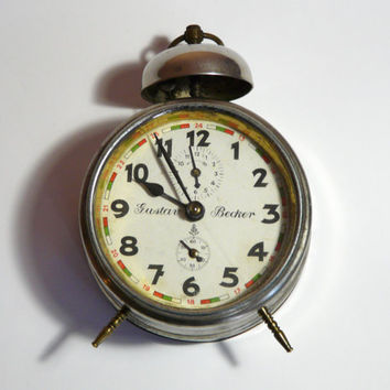 RARE Antique Gustav Becker one bell Alarm Clock 1910's