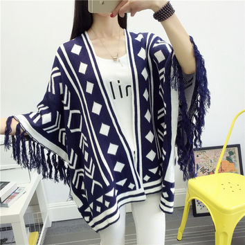 Boho Vintage Geometric Pattern Cardigan Sweater Women Warm Autumn Winter Knitted Blend Long Sleeve Tassel Poncho Pull Femme SN03