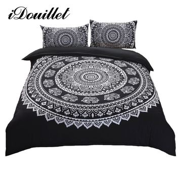 iDouillet Boho Bedding Set 3pcs Bohemia Mandala Indian Elephant Duvet Cover Pillowcase Black White Queen King Size Drop Ship