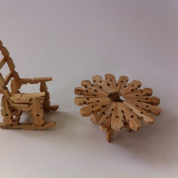 Rocking Chair and made miniature tables a clip linen color natural, decoration miniature amateur, Sanjay gift him and her wooden