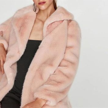 Double Breasted Faux Fur Winter Coat