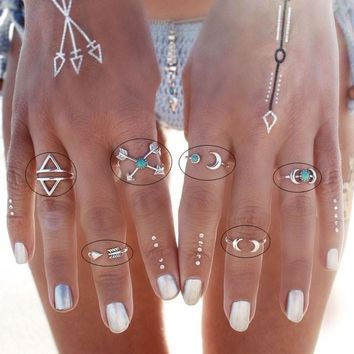 6 Pcs Bohemian Style Ethnic Gypsy Mexico Moon Sun Turquoise Jewelry Rings Retro Rings