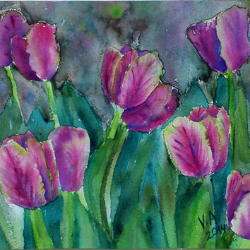 Watercolor flowers, watercolor tulips, garden landscape