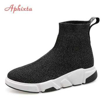 Aphixta Shoes Women Height Increasing Ankle Boots Pointed Toe Fabric Slip-On Ladies Mujer Sping Snow L Fashion Woman Shoes