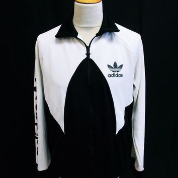 Vintage Adidas Black White Tracksuit Top Jacket Medium