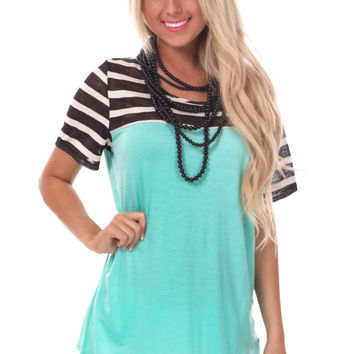 Black Sheer Striped Top Mint Tee