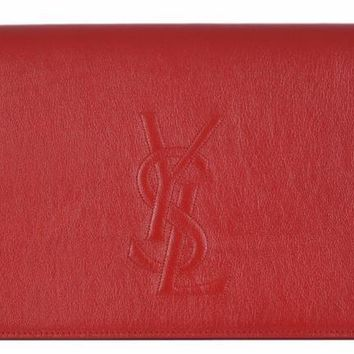 Yves Saint Laurent YSL Belle De Jour Large Red Leather Clutch Bag 361120