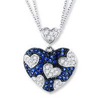 Blue & White Necklace Lab-Created Sapphires Sterling Silver