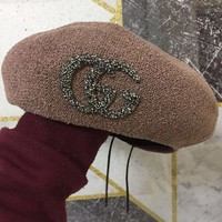 """Gucci"" Women Fashion Temperament Diamond Letter Logo Beret Cap Painter Artist Hat"