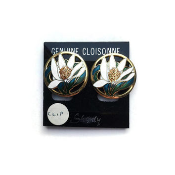 Cloisonné Earrings | Unused Vintage Earrings | White Floral Enamel Earrings | Clip On Earrings | New Old Stock Earrings | 1980's Earrings