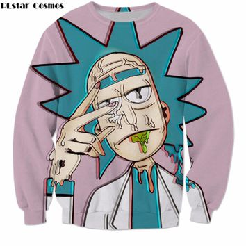 PLstar Cosmos Cartoon Rick and Morty Sweatshirts Men Women Streetwear Hipster Pullovers Funny Scientist Rick 3d Print Sweatshirt