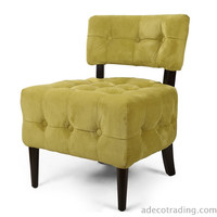 Side / Living room Velet Single Sofa with Solid wood legs Green Tufted European Style