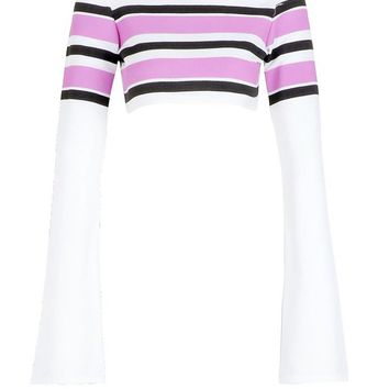 Layla High Neck Stripe Rib Flared Crop | Boohoo