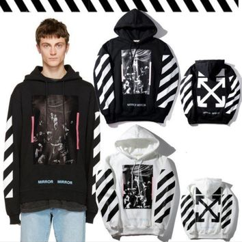 ONETOW OFF-WHITE Pink striped velvet hooded sweater men and women fashion hoodie jacket